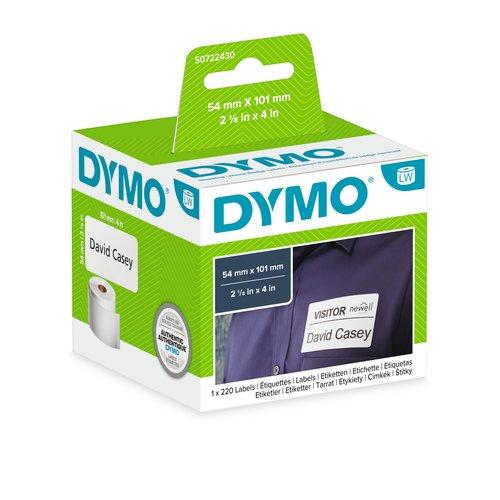 Namensschildetikett Dymo 99014 - 101 mm Breite x 54 mm Länge - Rechteck - Thermotransfer - Weiß - 220 / Rolle - 220 Gesamt